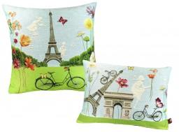Paris fleuri, tour Eiffel, coussin