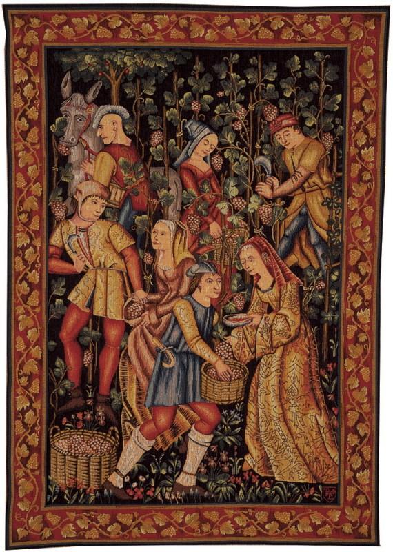 tapisserie moyen age, Les vendanges