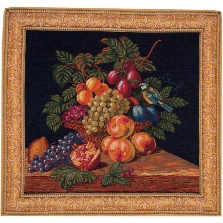 Corbeille de fruits et mésange, Tapisserie Art de Lys