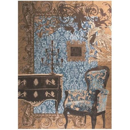 Trompe l'oeil (bleu), Tapisserie Art de Lys