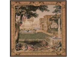 Verdure fontaine, tapisserie carré
