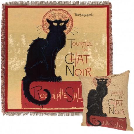Le chat Noir plaid et coussin